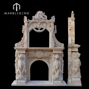 Indoor magnificence design Botticino Classico marble fireplace mantel with lion
