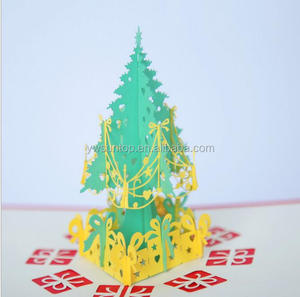 DIY Merry Christmas Tree Gift 3D Postcard Greeting Card