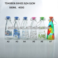 500ML glass milk bottle with decal ceramic lids and clip