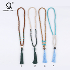 Boho Jewelry Natural Stone Wood Bead Turquoise Tassel Long Necklace