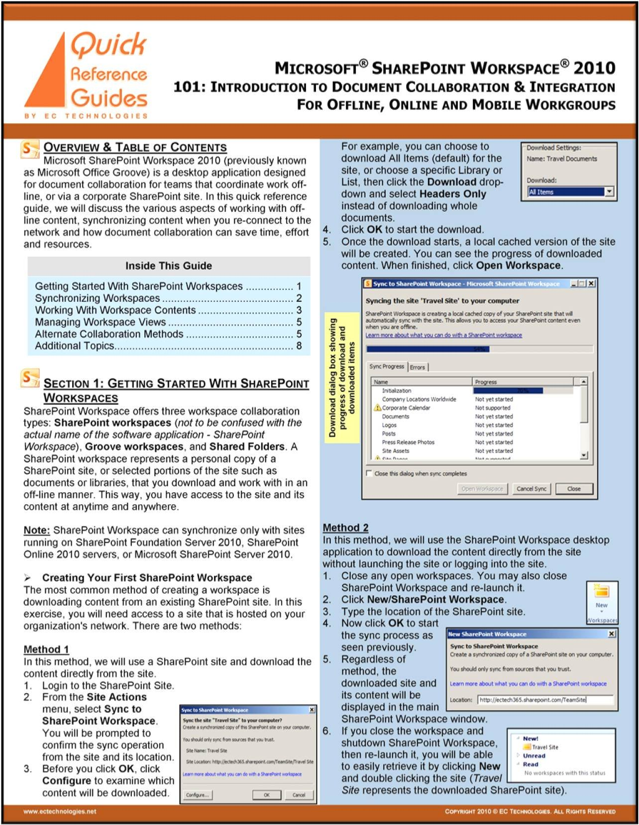 Microsoft SharePoint Workspace 2010 Quick Reference Guide - 101/202: Introduction To Document Collaboration & Integration For Offline, Online And Mobile Workgroups