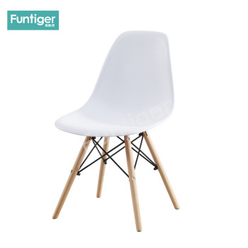 Modern stylish armless white plastic side chair for dining room