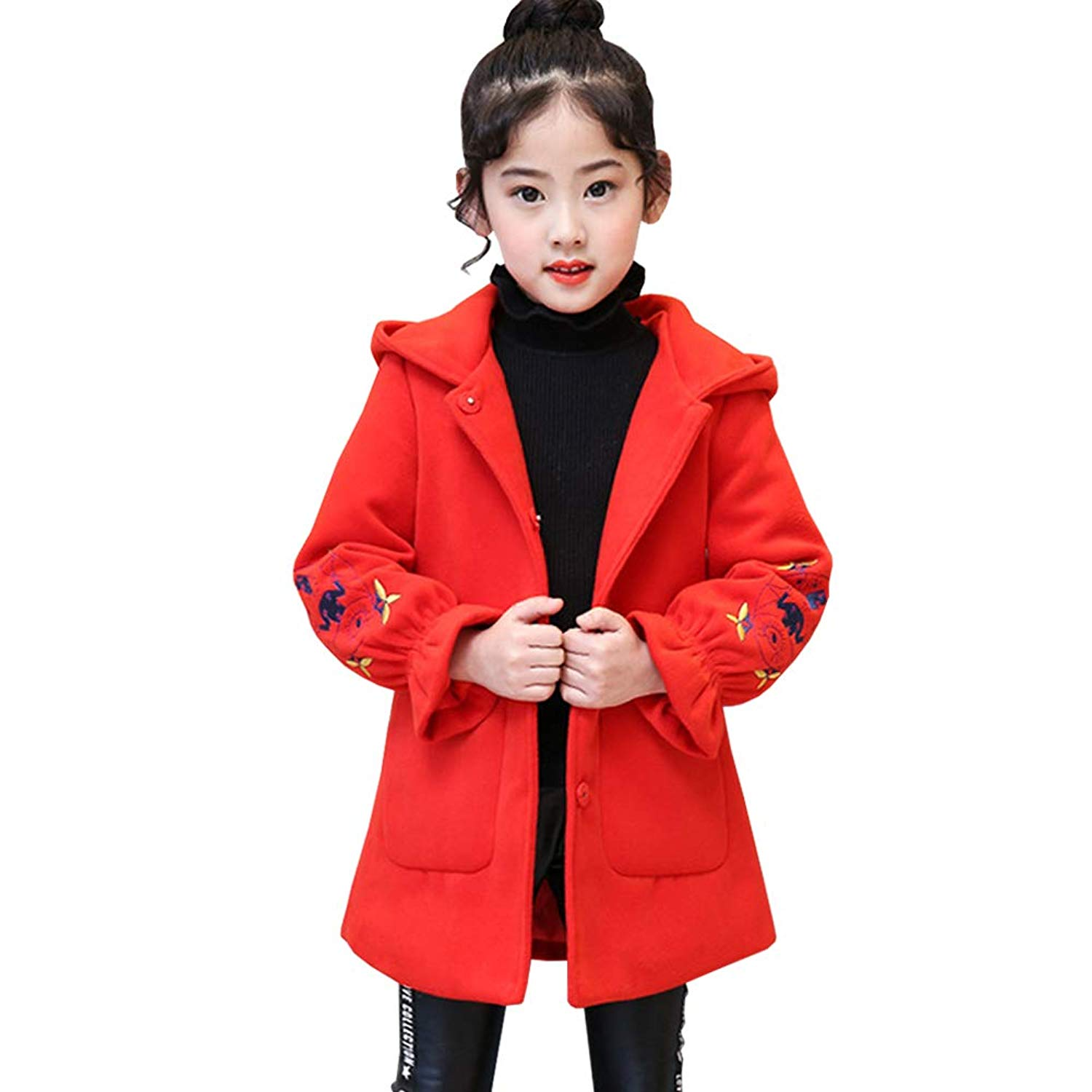 410dc86bbb693 Get Quotations · M&A Girl's Winter Thick Trench Coat with Hood Wool Blend  Long Pea Coats