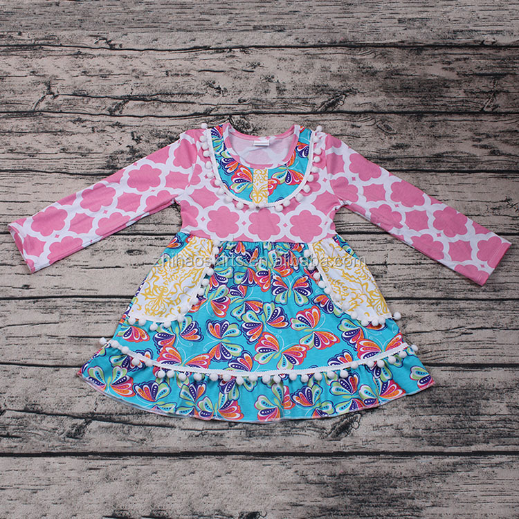 Fashion Wholesale Pink Girls Long Sleeve Boutique Dress with Cute Pom Pom Smocked Design Flower Print Boutique Dresses Outfits