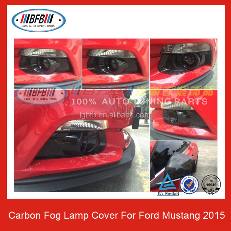 Carbon Fiber Front Bumper Fog Lamp Cover for Ford Mustang 2015 UP