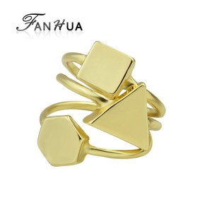 New Design Gold Color Geometric Metal Band Rings Set