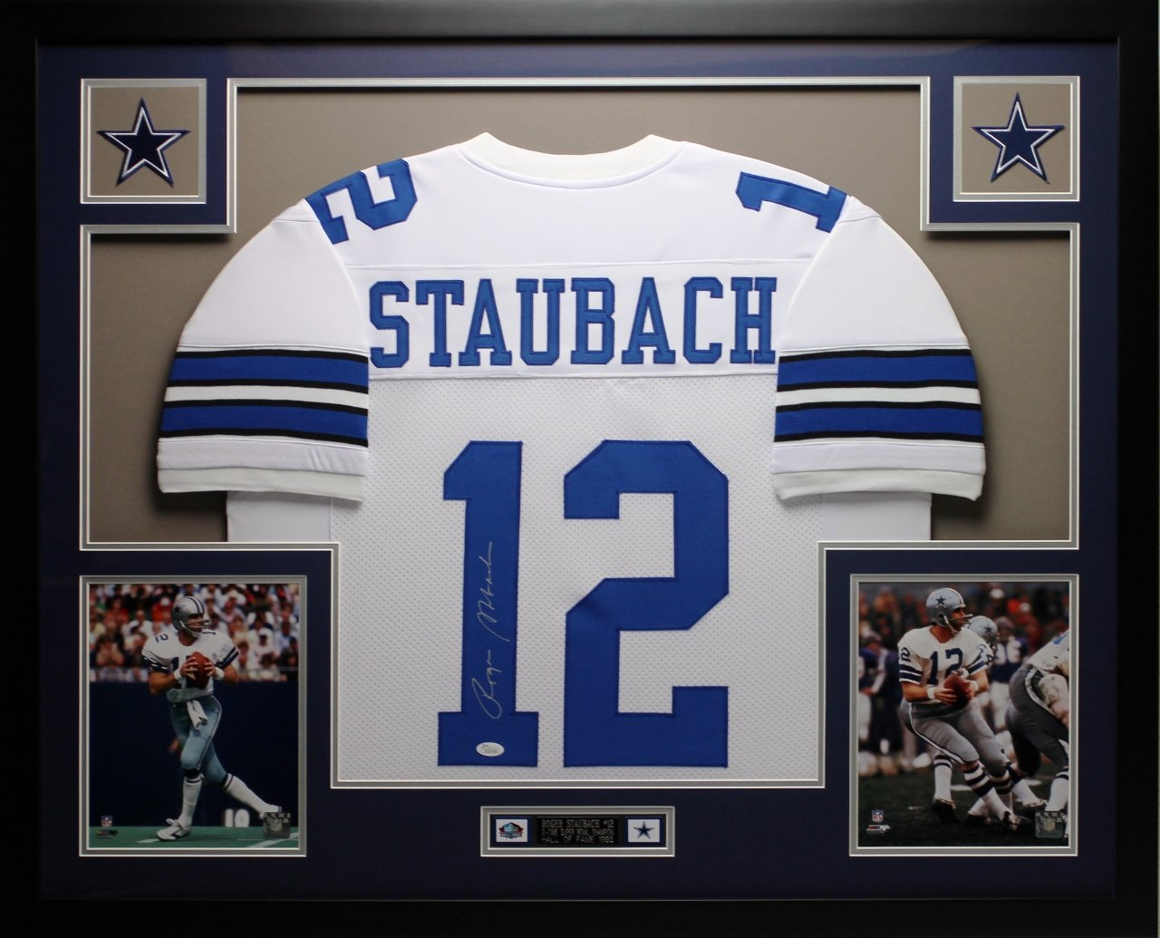 74be2f27107 Get Quotations · Roger Staubach Autographed White Cowboys Jersey -  Beautifully Matted and Framed - Hand Signed By Roger