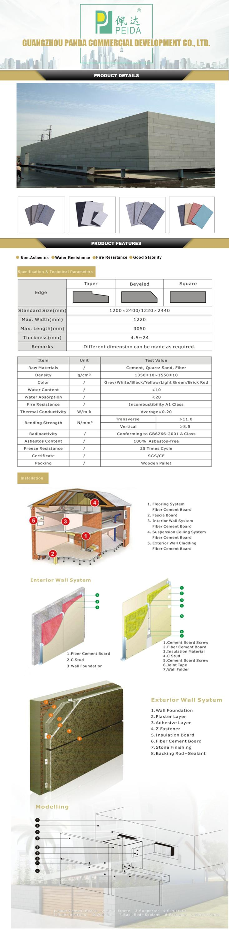 Non Asbest Water Proof Badkamer 8mm Dikte Fiber Cement Board