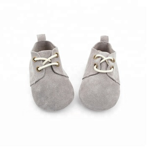 Lace Up casual soft sole suede grey leather oxford shoes for baby