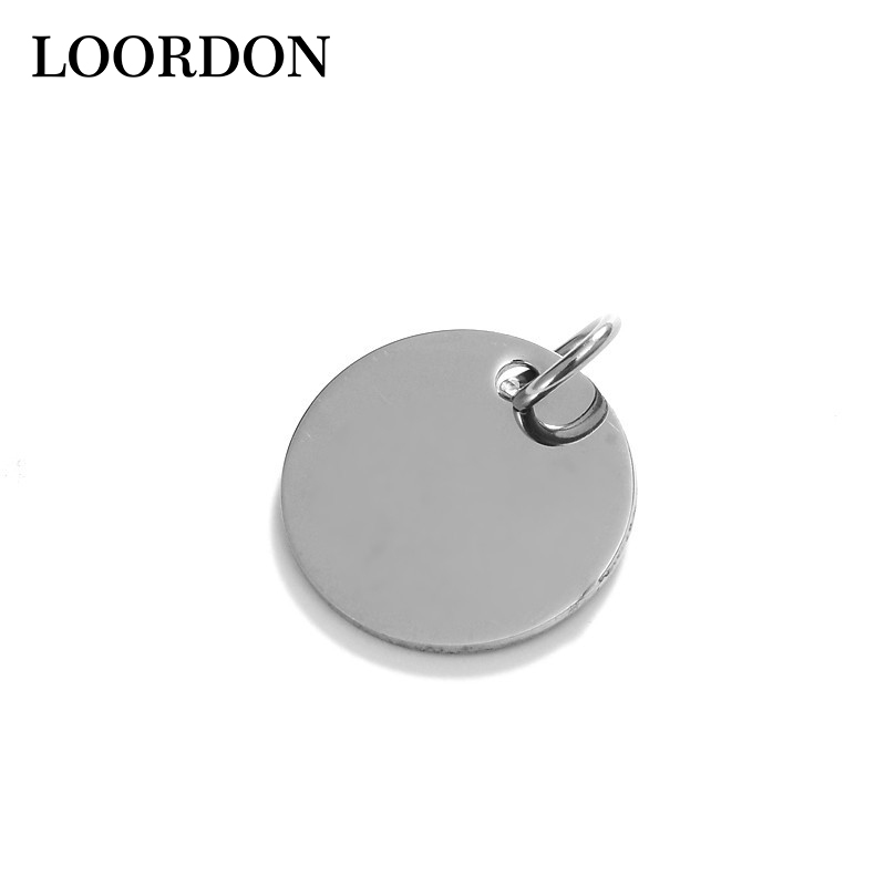 LOORDON Stock Wholesale High Quality Laser Engraving Customized Stainless Steel <strong>Silver</strong> Round Blank Dogtag Pendant