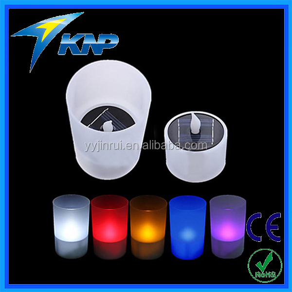 Solar Colorful LED Light Candle LED Changing Flash Candle Light Flicker Electronic Flameless