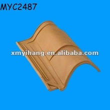 Curving ceramic terracotta roof tiles