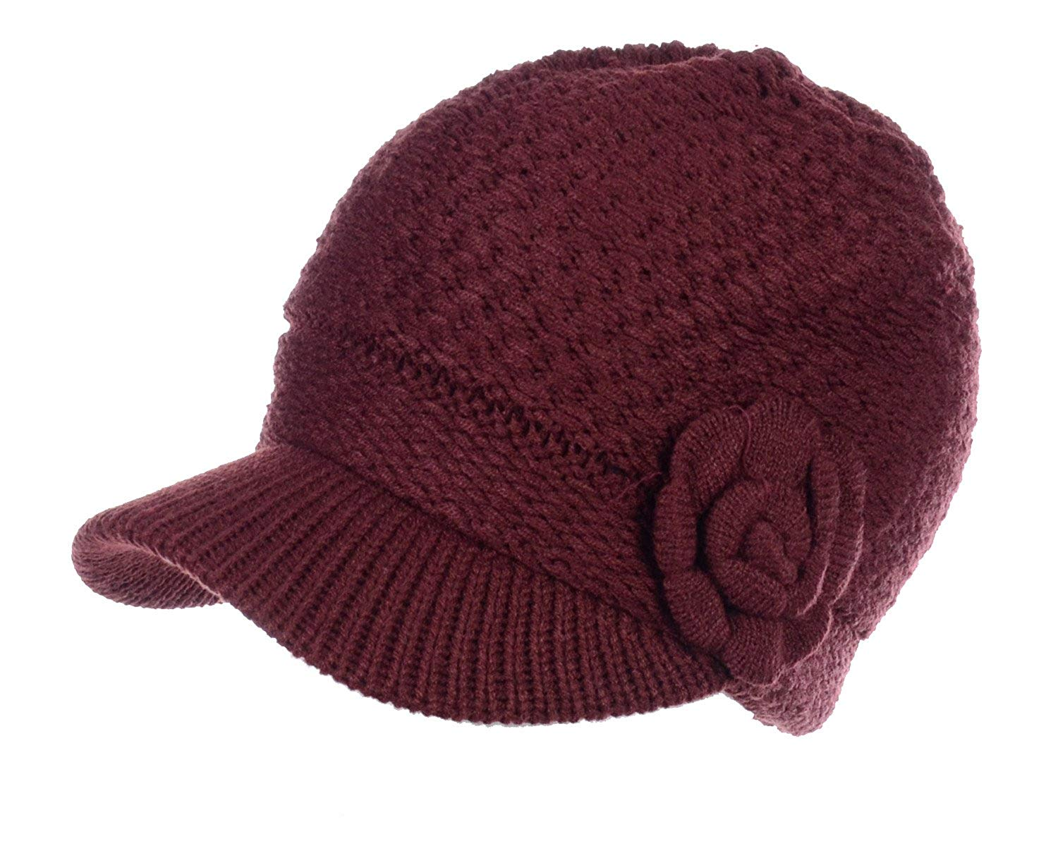 a91d7526b9f Get Quotations · Be Your Own Style BYOS Womens Winter Chic Cable Warm Fleece  Lined Crochet Knit Hat W