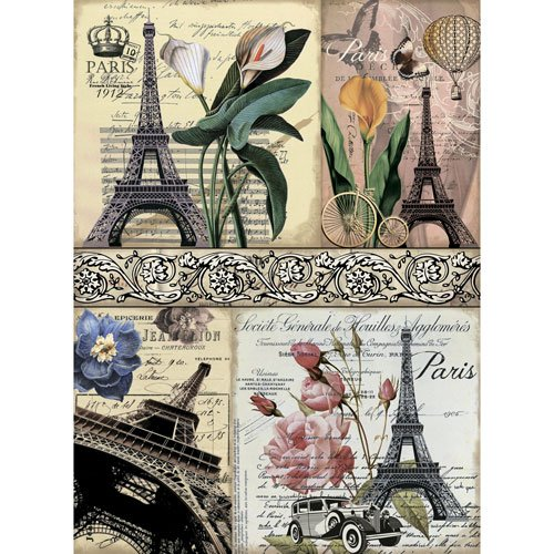 Rice paper for decoupage. Eiffel Tower, Paris, France.. Made in Russia. (~ 11,1 x 15,11 inches)