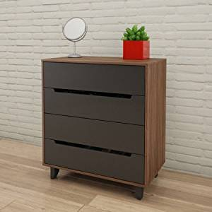 Modern 4 Drawer Chest Storage Dresser, Storage Space, Sturdy Construction, Keep Your Belongings Organized, Space Saver, Perfect for Bedroom, Living Room, Home Furniture, Walnut Finish