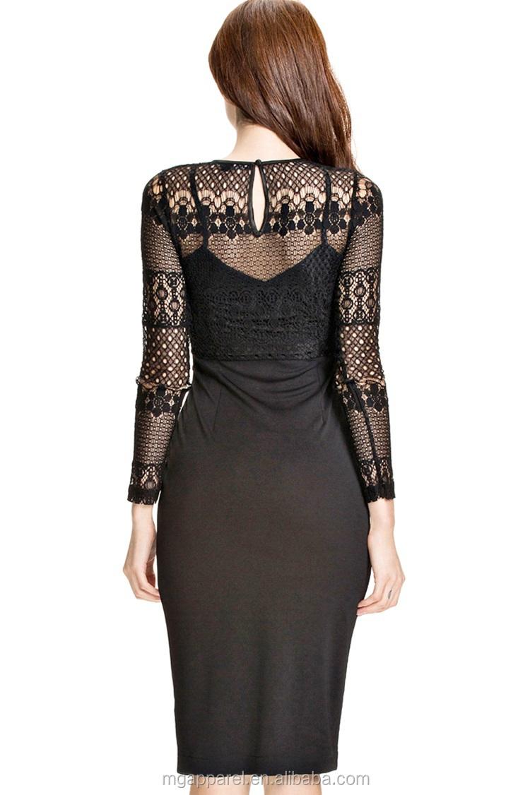95933c7e81a682 Groothandel zwart kant gelaagde geplooide rok jurk met lange mouwen jurken  s  avonds midi pencil