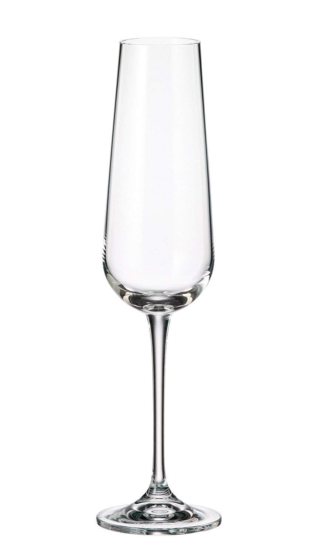 Crystalite Bohemia - Lead Free Crystal Wine Glasses Amundsen Stemware Collection, Set of 6 (Champagne Flute Glass 7oz. (220ml))