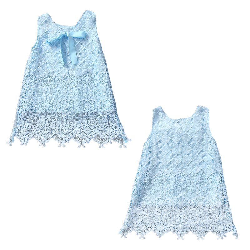 Baby Dress kids Girls Sleeveless Cute Dress Embroidery Bowknot Infant Toddler Clothes