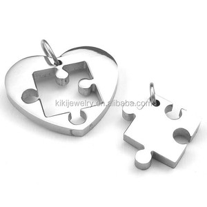2PCS Men Women Couples Engravable Stainless Steel Heart Puzzle Pendant
