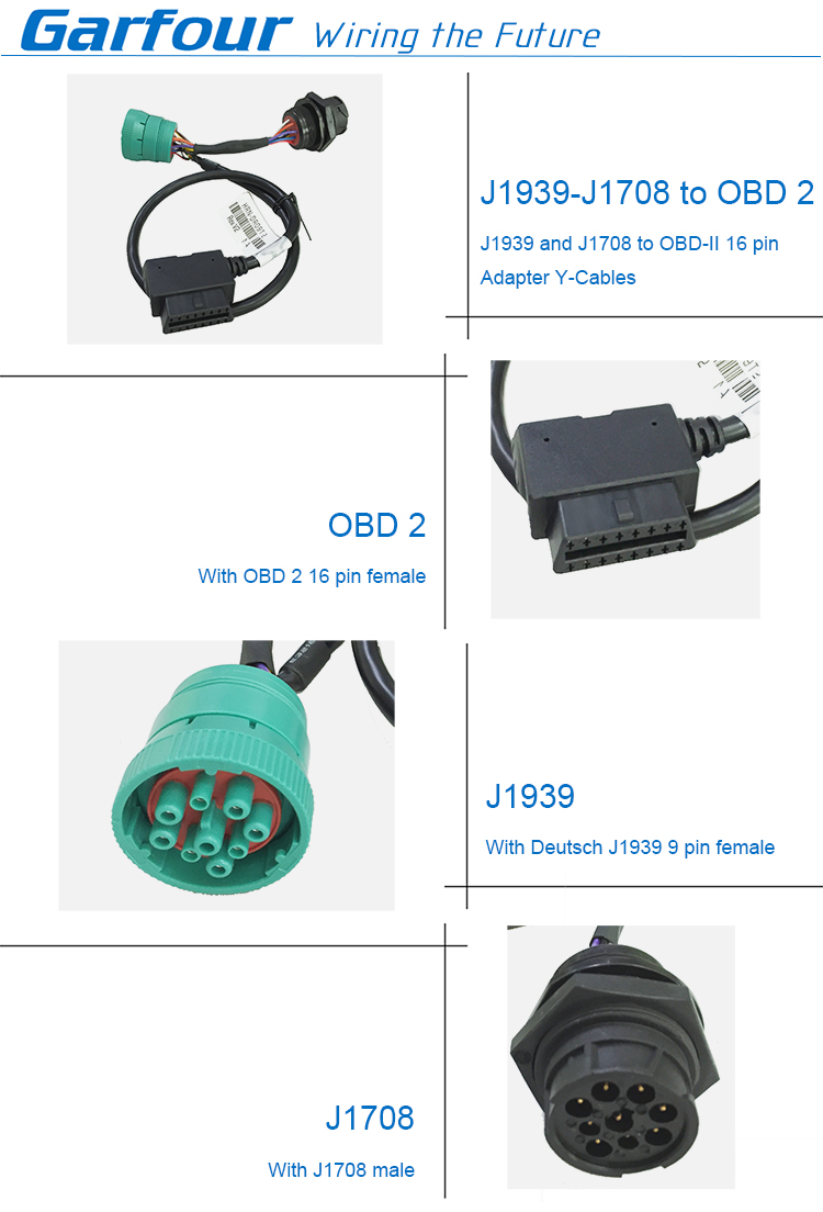 SAE J1939 Off-Board Diagnostic male to female Connector cable with OBD2 cable assembly