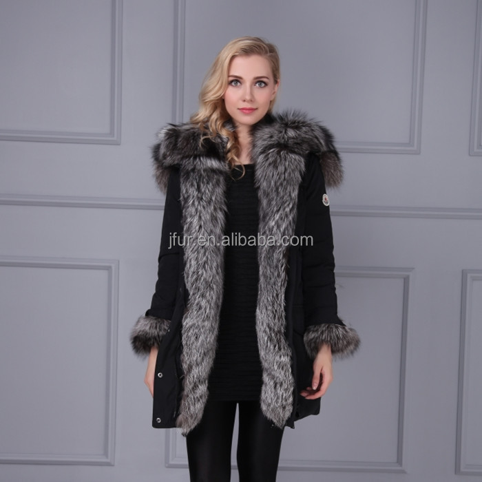 Wholesale Luxurious Winter Black Down Long Jacket with Real Silver Fox Fur Trimming Hood Jacket