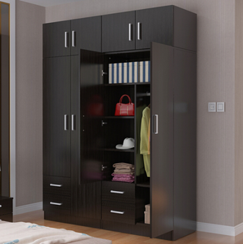 Merveilleux Simple Modern Black Color Combination Wooden Wardrobe