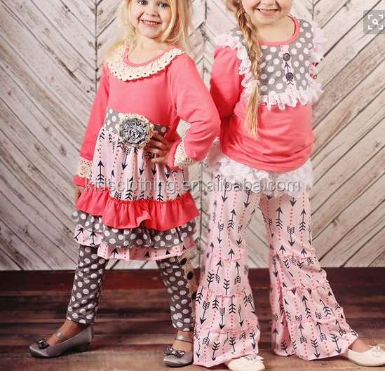 Newest kids clothing suppliers china boutique children's girls cheap wholesale ruffle clothing