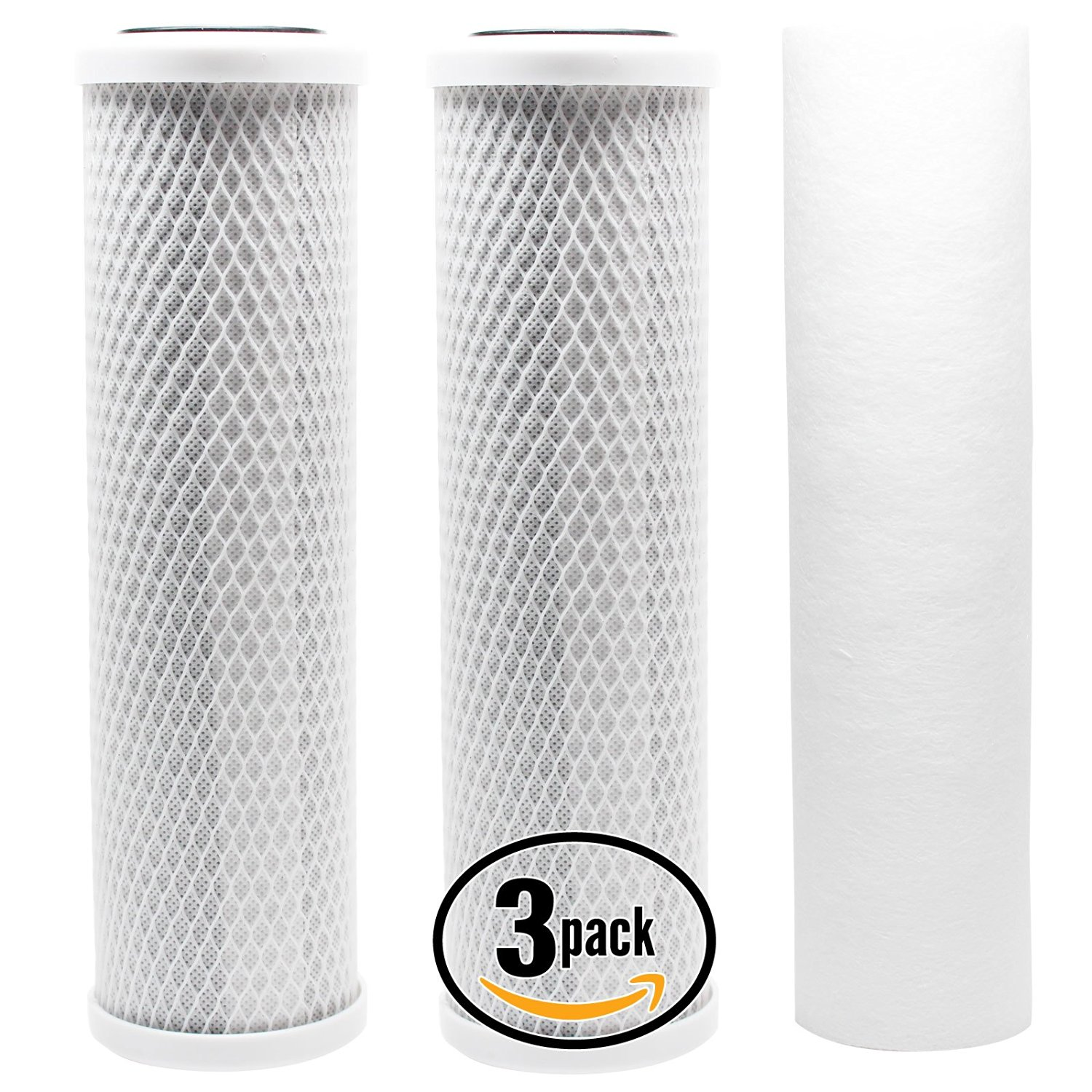 3-Pack Denali Pure Universal 10 inch Carbon Block, Sediment Filter - Compatible with APEC ROES-50, APEC RO-90, Watts WP5-50, APEC ROES-PH75, Watts WP-5, APEC RO-PERM, Watts RO-TFM-5SV, PureValue 5EZ50
