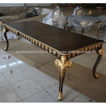 Antique Victorian Dining Table With Gold Leaf Finish On Carving