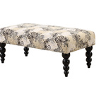 French style fabric upholstered long bench stool