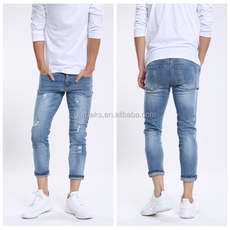 Straight Slim Casual Elastic Cotton Ripped Jeans