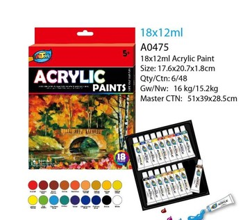 18 color 12ml non-taxic kids craft smart acrylic paint