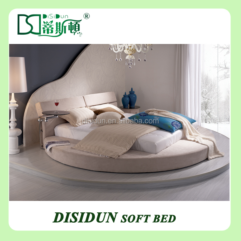 Pu Leather Circle Bed With Up And Down Headboard Modern