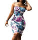 Womens Floral Strapless Off The Shoulder Bodycon Tube Top Midi Dress Plus Size