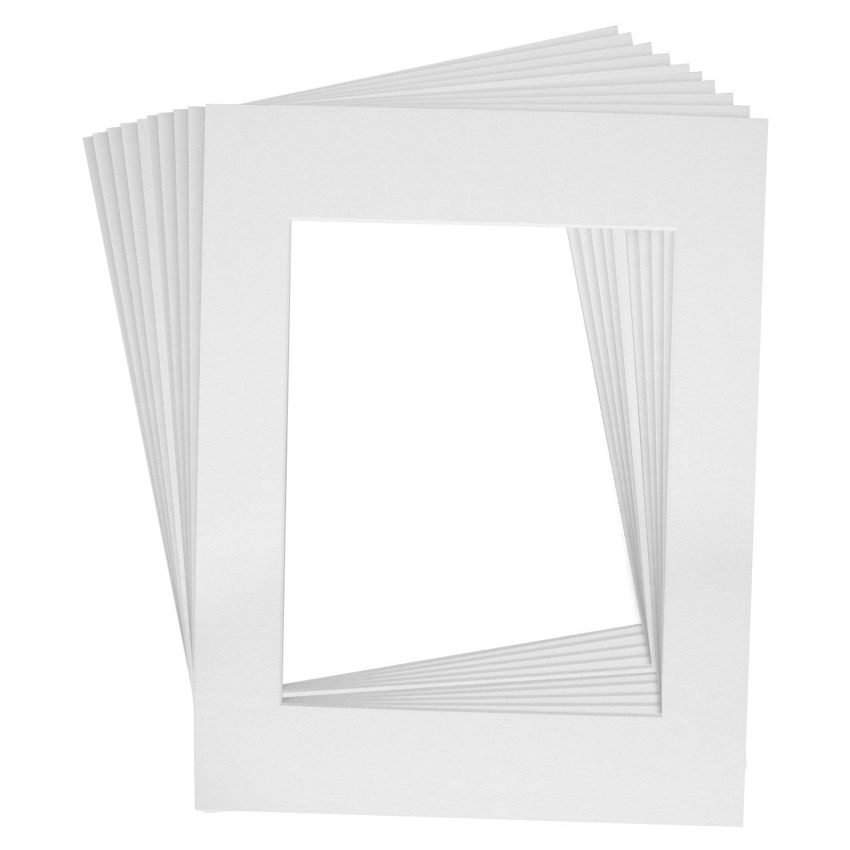 US Art Supply Art Mats Brand Premier Acid-Free Pre-Cut 16x20 Black Picture Mat Matte Face Frames Includes a Pack of 25 White Core Bevel Cut Matte Frames for 11x14 Photos 913420