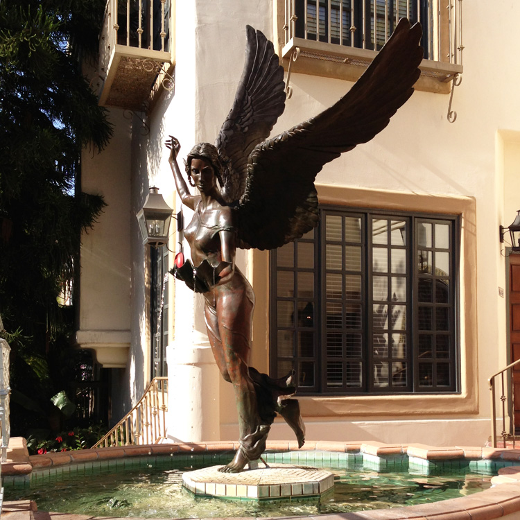 Hot sale life size metal cast bronze winged angel statue for garden decoration