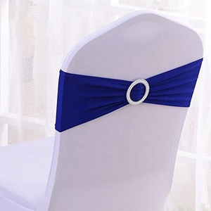 Elastic Lycra Cheaper royal spandex chair bands elastic Banquet party home wedding chair sashes with buckle