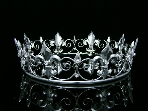 Men's Full King's Crown for Theather Prom Party - Clear Crystals Silver Plating T373 by Venus Jewelry