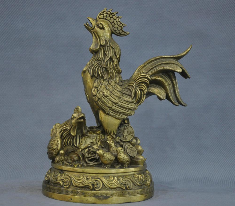 9' China Fengshui Zodiac Chicken <font><b>Rooster</b></font> Family Bronze Statue