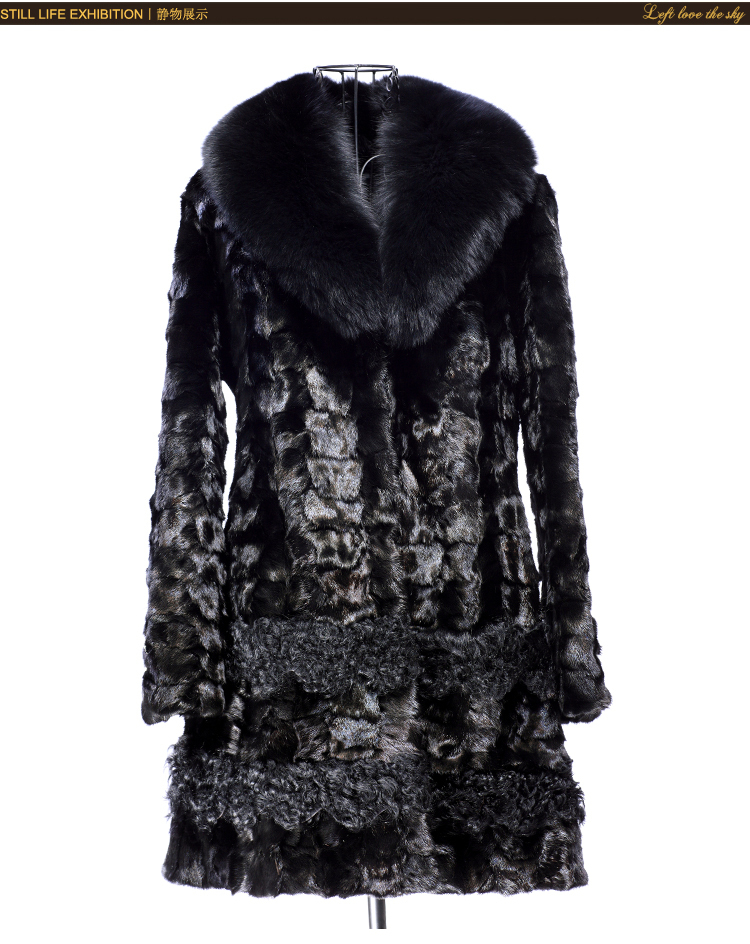 Free shipping  Real/genuine Mink Fur Coat With Fox Fur Collar Beautiful Young Mink Fur Mink Knitted Woolen Coat For Women's coat