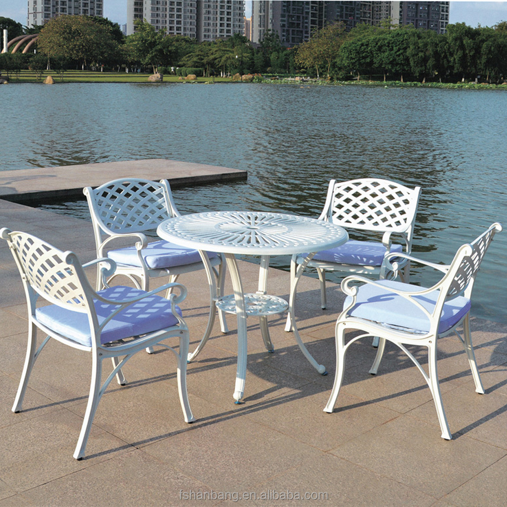 French Accent Round Classic Cast Aluminum Restaurant Dining Table And Chair  Furniture Part 64