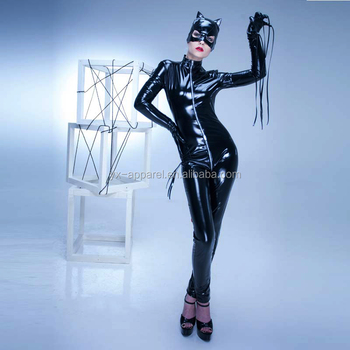 Sexy black leather cat costume suit women latex rubber catsuit catwoman jumpsuit with mask