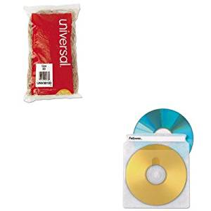 KITFEL90661UNV00133 - Value Kit - Fellowes Two-Sided CD/DVD Sleeve Refills for Softworks File (FEL90661) and Universal Rubber Bands (UNV00133)