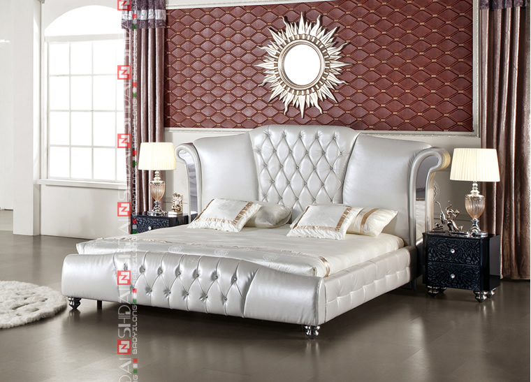 King Size Leather Bed With Tv In Footboard Throw Modern