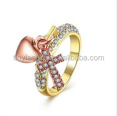 2016 latest design ring jewel gold zirconia cross and heart cluster ring