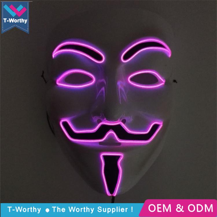 El Wire Mask Halloween Light Up Vendetta Mask, El Wire Mask ...