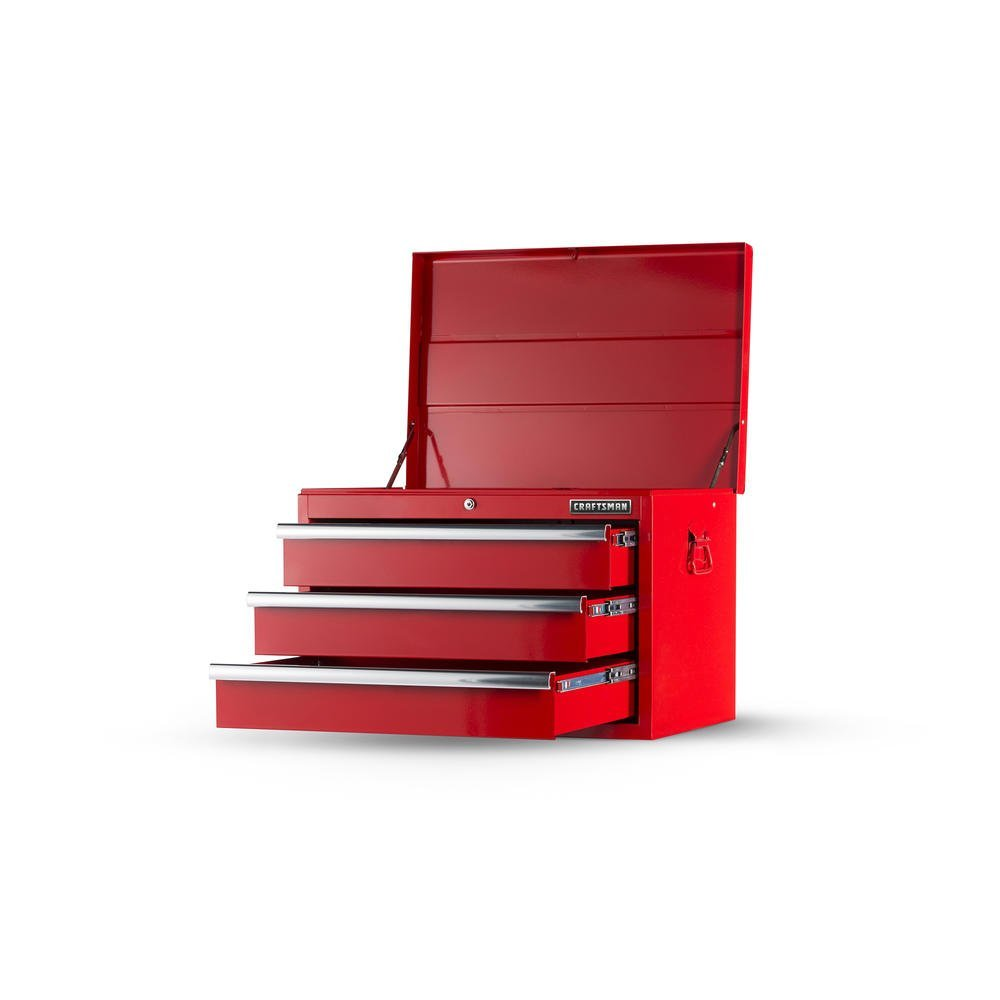 Craftsman 27 in. 3-Drawer STD DUTY Ball Bearing Slides Top Chest, Red