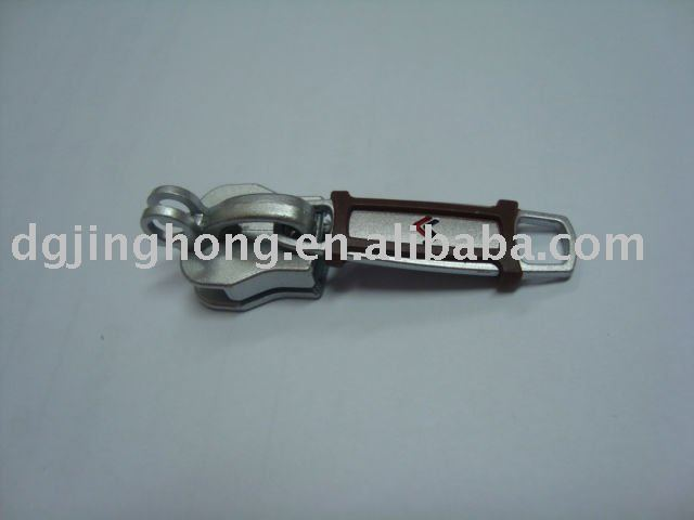 Metal zipper puller with rubber cover match lock slider #10