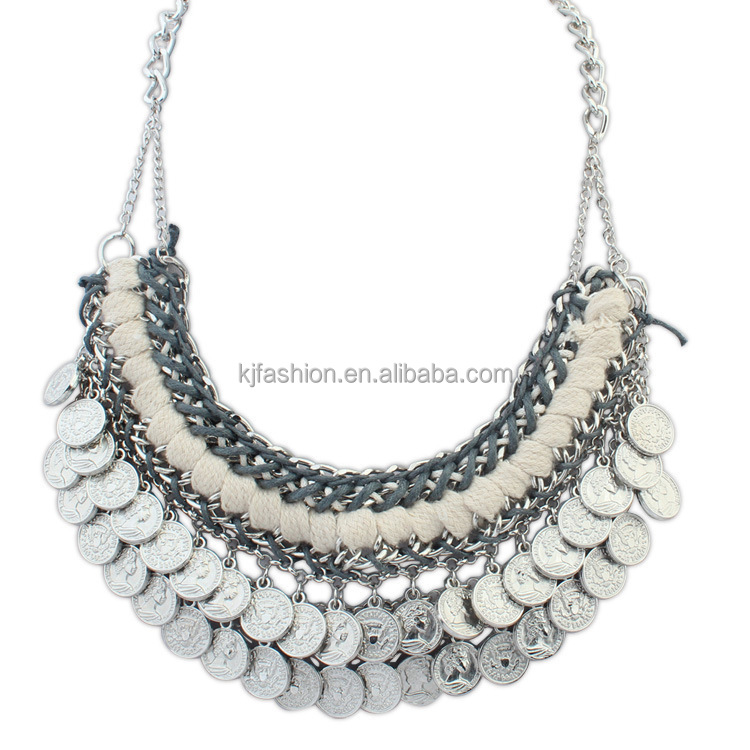 Newest luxury sequin dress seashell necklace handmade jewelry silver necklace