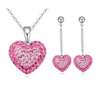 Geniune Crystal from swarovski jewelry set , Heart pendant fashion jewelry set
